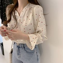 Seven Fairies - Heart Print Chiffon Blouse