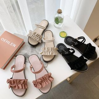 Belbie - Frill-Trim Slide Sandals
