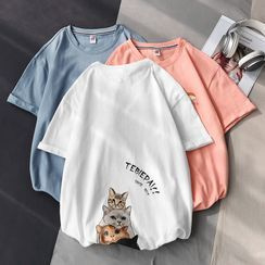 Fizze - Short-Sleeve Cat Print T-Shirt