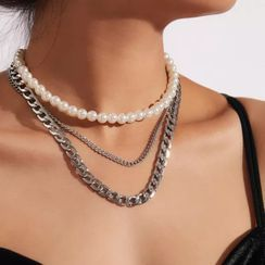 Gemsha - Faux Pearl Chain Layered Necklace
