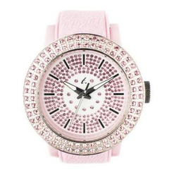 t. watch - 粉紅色矽膠錶帶玻璃鑽石防水面錶