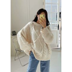chuu - Oversize Cable-Knit Sweater