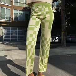 Honet - Plaid Straight-Fit Pants
