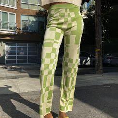 Honet - Plaid Straight-Fit Pants