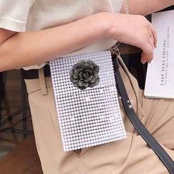 OUCHA - Flower Rhinestone Cross Bag