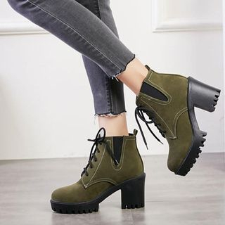 Comof - 仿皮粗跟踝靴