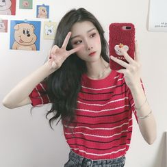 Sisyphi - Short-Sleeve Striped Knit Top