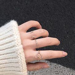 Calypso - 三件套裝: 線藝心心戒指 / 水鑽開口戒指 / 扭擰戒指