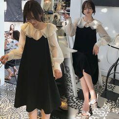 Levsayte - Maternity Set: Ruffle Collar Blouse + Midi A-Line Overall Dress