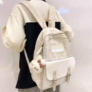 shinescape - Plaid Buckled Canvas Backpack