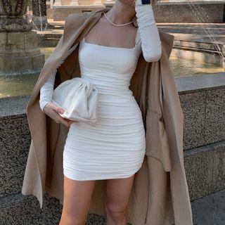 Puffields - Long-Sleeve Square-Neck Mini Sheath Dress