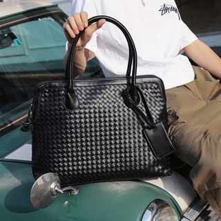 ETONWEAG - Woven Faux Leather Briefcase