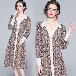 Yonna - Snake Skin Print Midi A-Line Shirt Dress