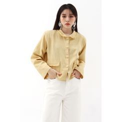 SIMPLY MOOD - Collared Fringed Flap-Pocket Cardigan