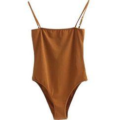 Sinora - Plain Strappy Bodysuit Top