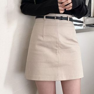 Tangihouse - Plain High-Waist Mini A-Line Skirt with Belt