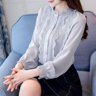 Prettissimo - Lace Panel Long-Sleeve Chiffon Blouse