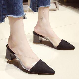 Garoque - Pointy PVC Panel Block Heel Slide Sandals