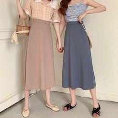 Closette - High-Waist Plain Midi Pencil Skirt