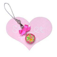 Sweet & Co. - Neon Pink Sweet Cupcake Polka Ribbon Phone Strap