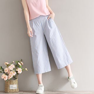 Snow Flower - Cropped Wide Leg Pants