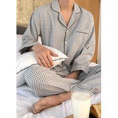 JOGUNSHOP - Pajama Set: Checked Shirt + Pants