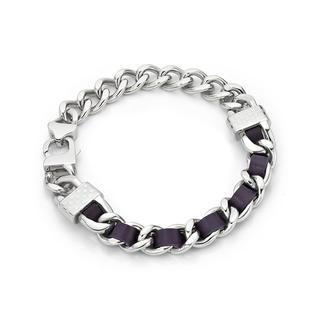 Kenny & co. - 紫色皮革螺絲扣白鋼手鏈