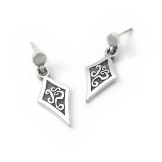 Sterlingworth - Engraved Sterling Silver Rhombus Earring (Single)
