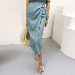 DABAGIRL - Linen Blend Tapered Long Wrap Skirt
