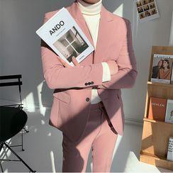VEAZ - Set: Plain Double-Breasted Blazer + Pants