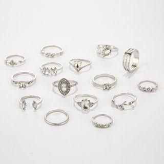 Yongge - Set of 15: Rhinestone Ring (assorted designs)