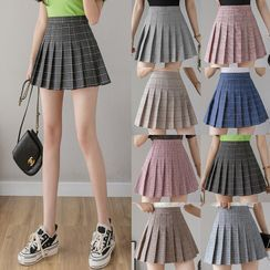 Niji Smile - Inset Shorts Plaid Pleated Skirt