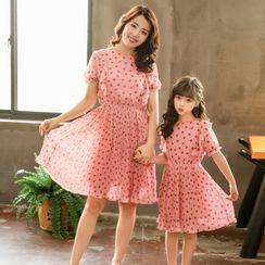 PAM - Kids Short-Sleeve Dotted Midi A-Line Chiffon Dress