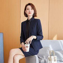 Skyheart - 纯色衬衫 / 条纹西装外套 / 西裤 / 铅笔裙 / 套装