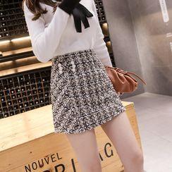 Coheat - Plaid Tweed Mini A-Line Skirt