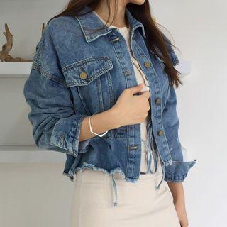 Envy Look - Drawstring-Waist Fray-Hem Denim Jacket