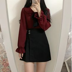 KiTi - Long-Sleeve Ruffle Tie-Neck Blouse / A-Line Mini Skirt
