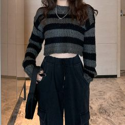 Rorah - 條紋短款毛衣 / 抽繩褲口工裝褲