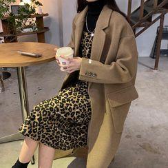 Gilmort - Double Breasted Long Coat / Long-Sleeve Turtleneck Knit Top / Spaghetti Strap Leopard Print Midi A-Line Dress