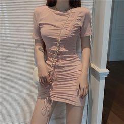 Meatacci - Short-Sleeve Drawstring Mini Bodycon Dress