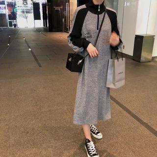 Tokoko - Stand Collar Raglan Sleeve Midi Dress