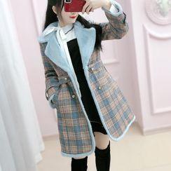 Sefen - 抓毛内衬格子双排扣夹棉大衣