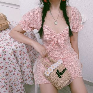 Chokran - 短袖圓點迷你直身連衣裙