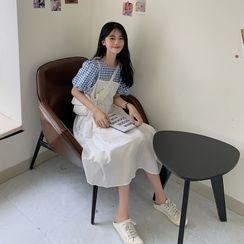 KARLY - Mock Two-Piece Puff-Sleeve Midi Dress