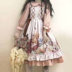 Tomoyo - Sleeveless Printed Midi A-Line Dress / Long-Sleeve Midi A-Line Dress