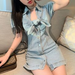 Pobblebonk - Puff-Sleeve Denim Tie-Neck A-Line Mini Shirtdress