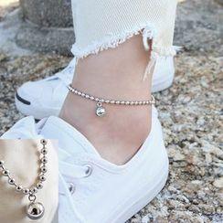 Phoenoa - 925 Sterling Silver Metal Bead Anklet
