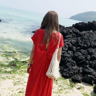 Oscuro - Short-Sleeve Back-Knot Shift Midi Dress