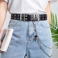 Rofuka - Double Prong Chain Faux Leather Belt