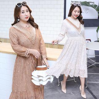 Tripoly - Lace Long-Sleeve Midi A-Line Dress